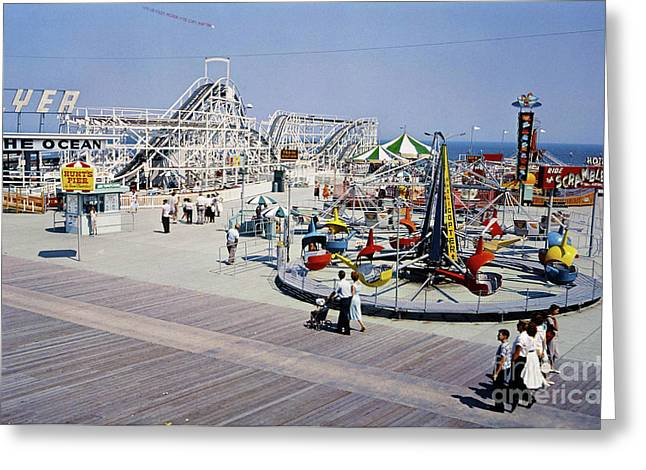 Mixed Age Range Greeting Cards - Hunts Pier on the Wildwood New Jersey Boardwalk Greeting Card by Retro Views