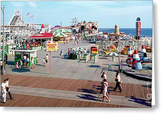 Flyer Greeting Cards - Hunts Pier Wildwood New Jersey Sixties Panorama Photograph Greeting Card by Retro Views