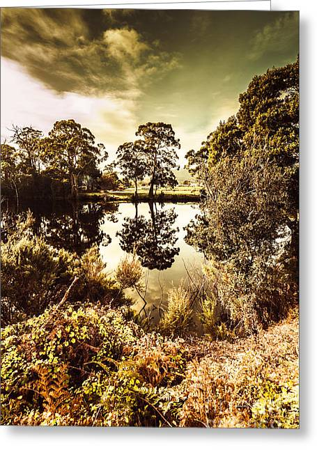 Huonville River Reflections Greeting Card by Jorgo Photography - Wall Art Gallery