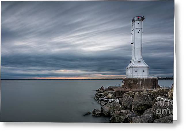 Greeting Cards - Huron Harbor Lighthouse Greeting Card by James Dean