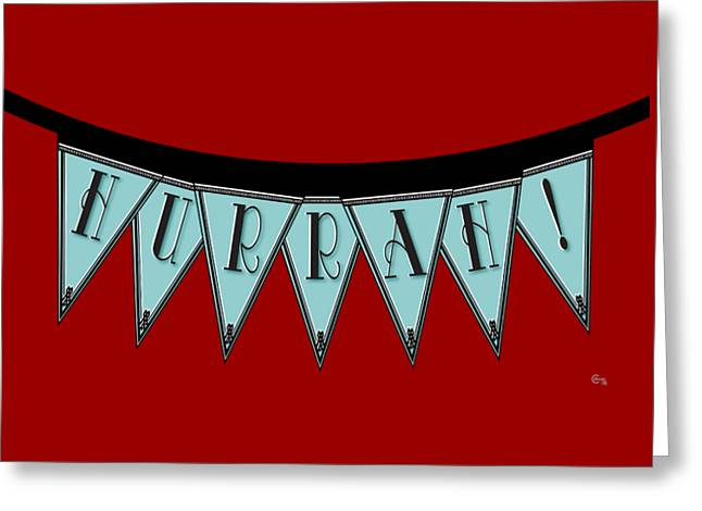 Turn Of The Century Mixed Media Greeting Cards - HURRAH  Manhattan 1920s Deco Blues Banner  Greeting Card by Cecely Bloom