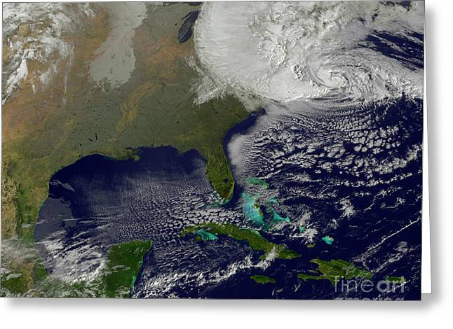 Satellite View Greeting Cards - Hurricane Sandy Battering The United Greeting Card by Stocktrek Images
