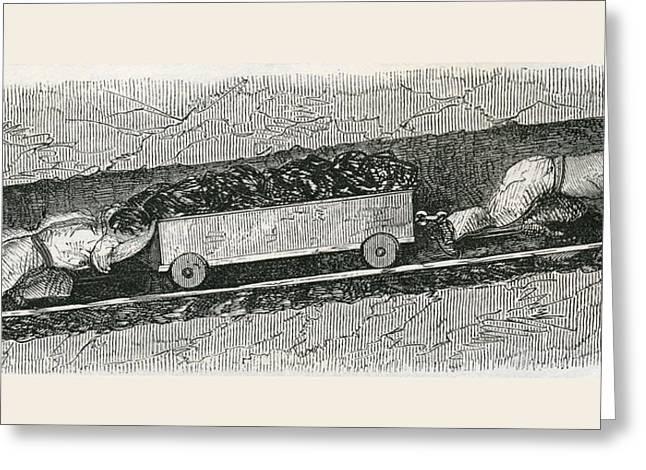Coalmine Greeting Cards - Hurriers In A Lancashire Coal Pit. A Greeting Card by Ken Welsh