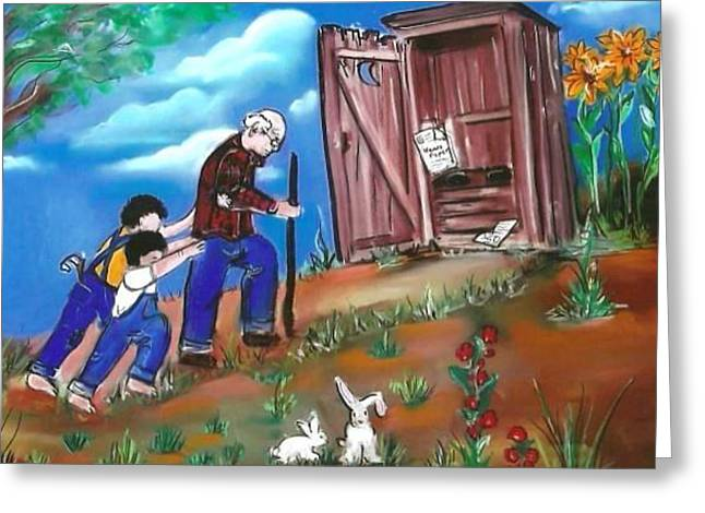 Overalls Pastels Greeting Cards - Hurry Grandpa Needs to Go Greeting Card by Dolores Aragon