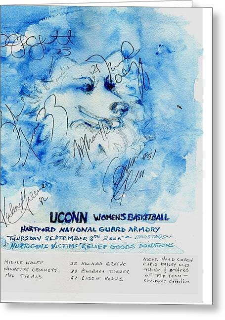 Autographed Art Mixed Media Greeting Cards - Huskies team and Mascot-Armory 2005 Greeting Card by Elle Smith  Fagan