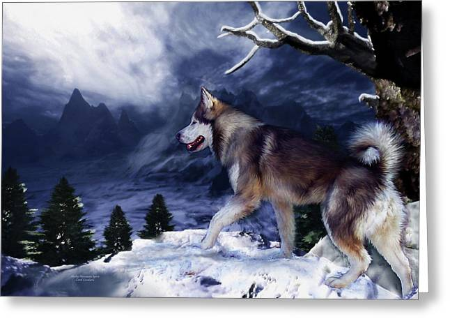 Snow Scene Mixed Media Greeting Cards - Husky - Mountain Spirit Greeting Card by Carol Cavalaris