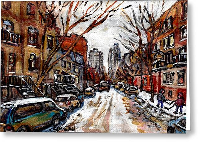 Rue Prince Arthur Greeting Cards - Hutchison At Prince Arthur Montreal Street Scene Painting Toward Downtown Kids Playing Hockey  Greeting Card by Carole Spandau