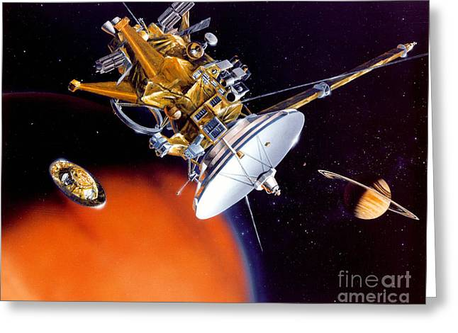 Outer Space Drawings Greeting Cards - Huygens Probe Separating Greeting Card by NASA and Photo Researchers