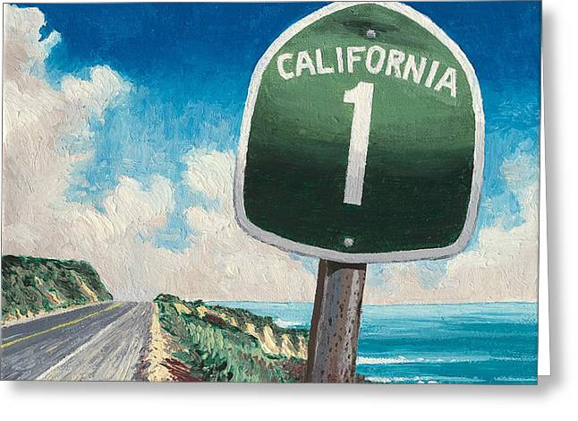 Hwy 1 Greeting Card by Andrew Palmer