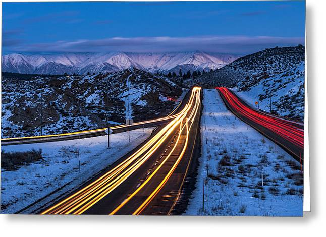 Hwy. 395 At Blue Hour Greeting Card by Cat Connor
