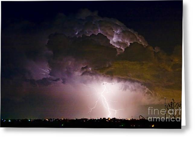 Striking Images Greeting Cards - HWY 52 - 08-15-2010 Lightning Storm Image 42 Greeting Card by James BO  Insogna