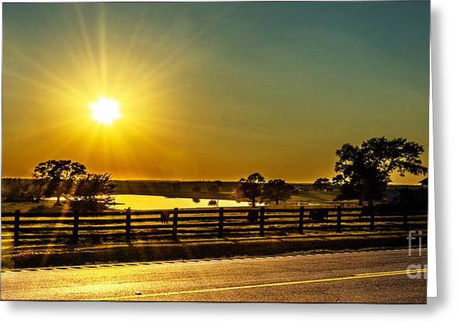 Highway Tapestries - Textiles Greeting Cards - Hwy 53 Sunset Greeting Card by James Hennis