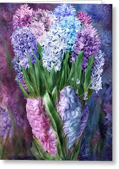 Vase Of Flowers Mixed Media Greeting Cards - Hyacinth In Hyacinth Vase 1 Greeting Card by Carol Cavalaris