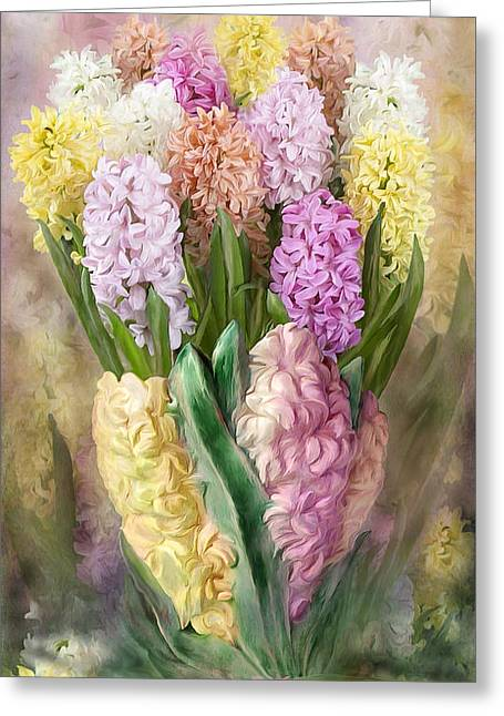Vase Of Flowers Mixed Media Greeting Cards - Hyacinth In Hyacinth Vase 2 Greeting Card by Carol Cavalaris