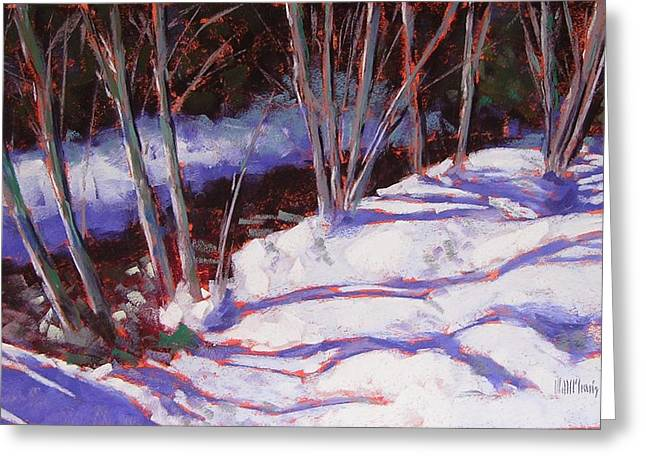 Snowscape Pastels Greeting Cards - Hyak Stream Greeting Card by Mary McInnis