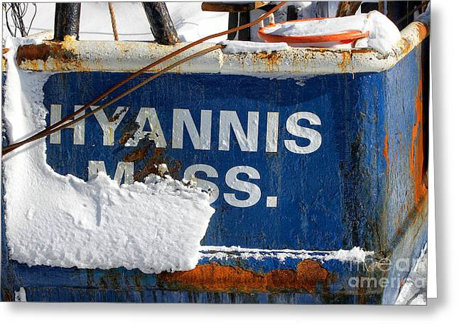 Snowstorm Greeting Cards - Hyannis Massachusetts fishing boat Greeting Card by Matt Suess