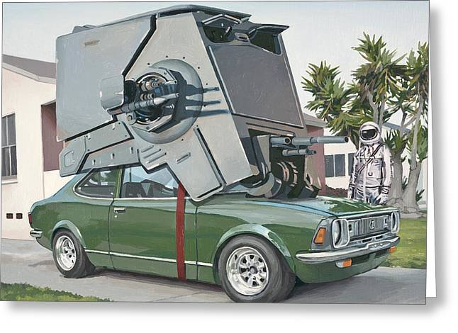 Science Fiction Paintings Greeting Cards - Hybrid Vehicle Greeting Card by Scott Listfield