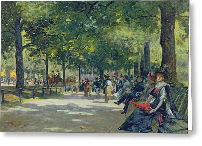 Park Benches Paintings Greeting Cards - Hyde Park - London  Greeting Card by Count Girolamo Pieri Nerli