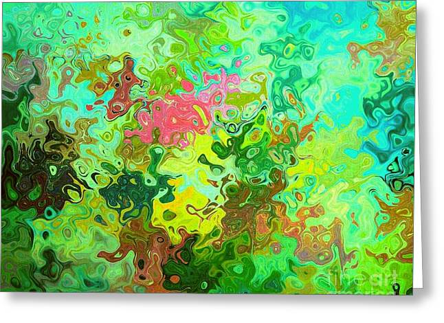 Oil Slick Greeting Cards - Abstract Hydrangea And Sunflower Reflections Greeting Card by ARTography by Pamela  Smale Williams
