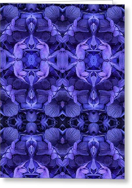 Royal Tapestries - Textiles Greeting Cards - Hydrangea Blue Greeting Card by Kaleidoscopic Visions
