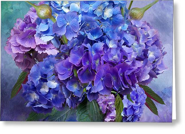 Purple Hydrangeas Greeting Cards - Hydrangea Bouquet - Square Greeting Card by Carol Cavalaris