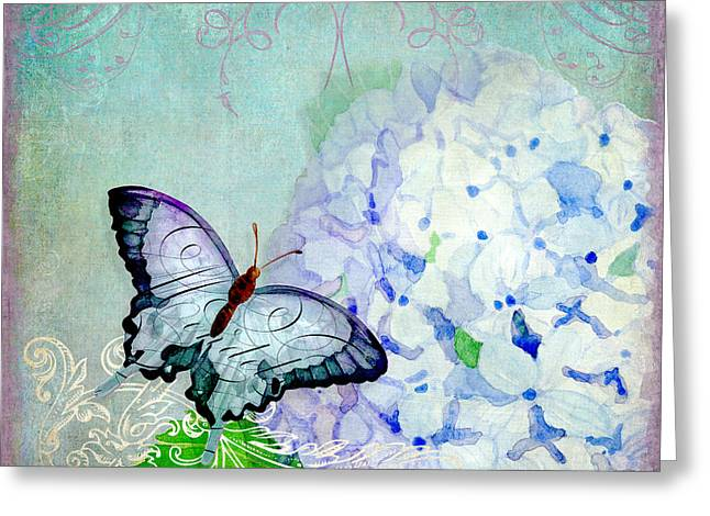 Whimsical Mixed Media Greeting Cards - Hydrangea Dreams Greeting Card by Audrey Jeanne Roberts
