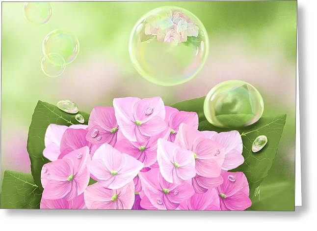 Green Leafs Greeting Cards - Hydrangea Greeting Card by Veronica Minozzi