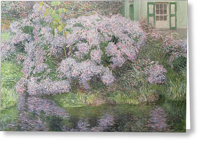Purple Hydrangeas Greeting Cards - Hydrangeas on the banks of the River Lys Greeting Card by Emile Claus