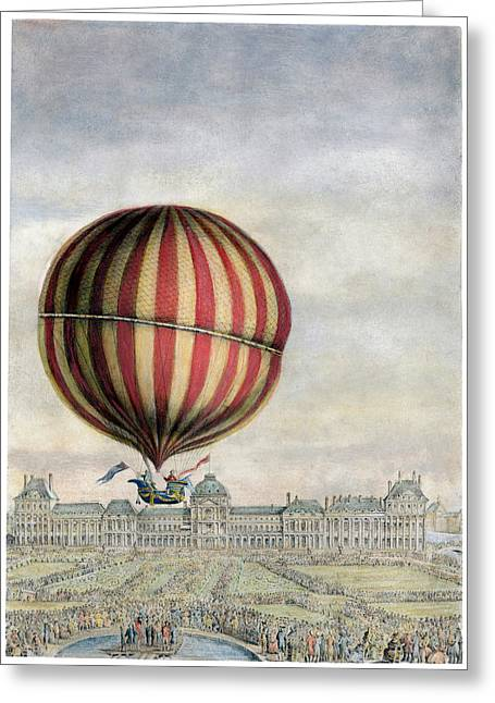 Nicholas Greeting Cards - Hydrogen Balloon, 1783 Greeting Card by Granger