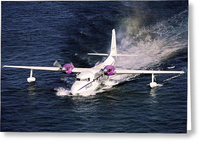 Hydroplane Splashdown Greeting Card by Sally Weigand