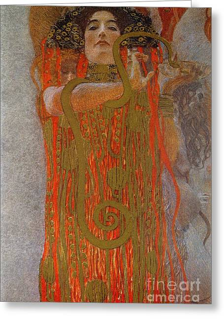 Expressionist Greeting Cards - Hygieia Greeting Card by Gustav Klimt
