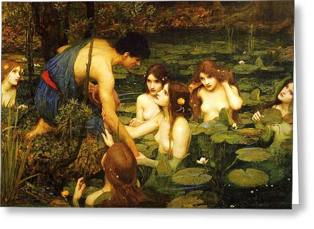 Hylas And The Nymphs Greeting Card by PG REPRODUCTIONS