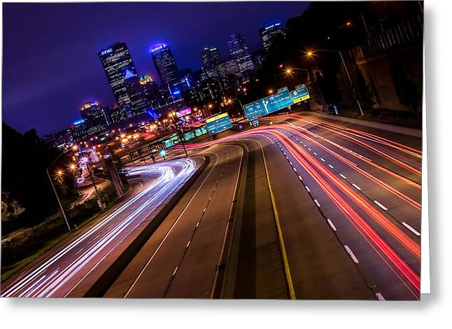 Roadway Greeting Cards - Hyperspace on Interstate 279 Greeting Card by Joseph Heh