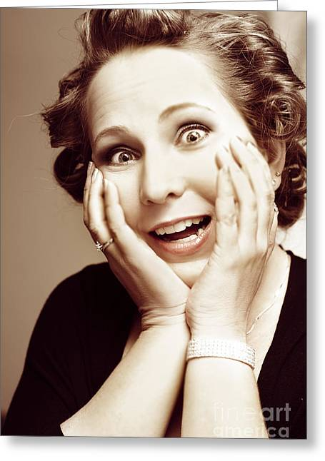 Fun Image Greeting Cards - Hysterical bride pulling funny bridezilla face Greeting Card by Ryan Jorgensen