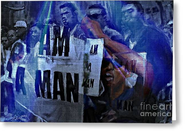 Civil Rights Greeting Cards - I Am A Man Greeting Card by Vannetta Ferguson