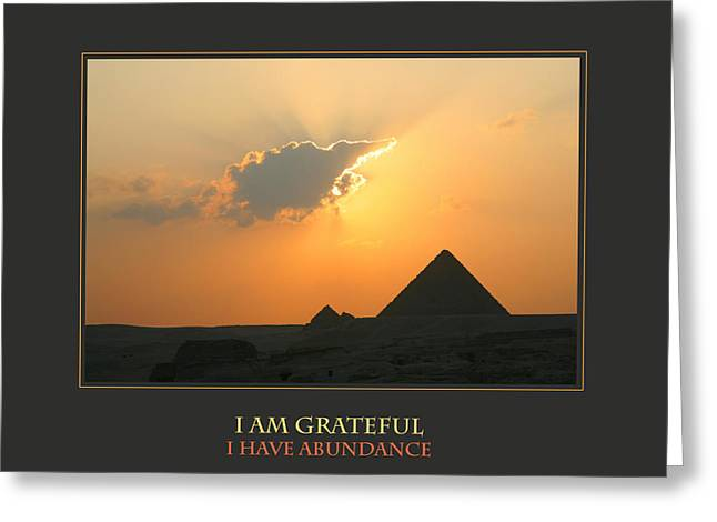 Affirmation Greeting Cards - I Am Grateful I Have Abundance Greeting Card by Donna Corless