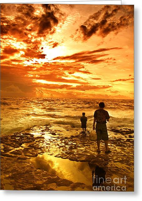 Beach Greeting Cards - I Am Not Alone Greeting Card by Charuhas Images