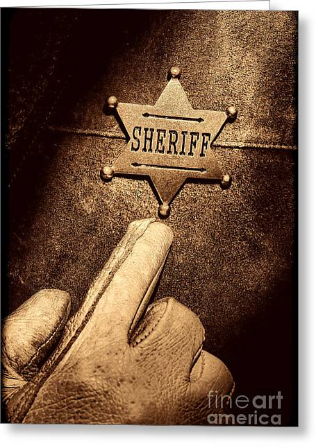 Law Enforcement Greeting Cards - I AM the Law Greeting Card by American West Legend By Olivier Le Queinec