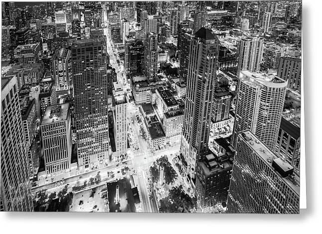 I Am Too Color Blind - Black And White - Chicago Skyline Greeting Card by Scott Campbell
