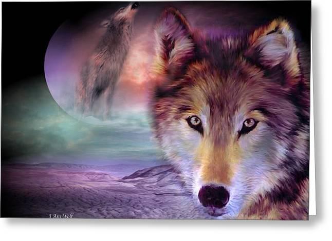 I Am Wolf Greeting Card by Carol Cavalaris
