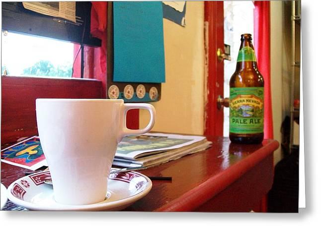 Tea Party Pyrography Greeting Cards - I brought my own beer to your Tea Party  Greeting Card by Fareeha Khawaja