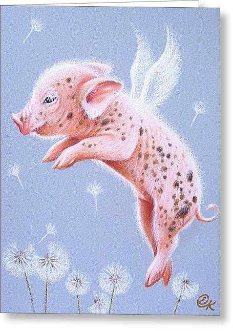 Best Sellers -  - Piglets Greeting Cards - I can fly too Greeting Card by Elena Kolotusha