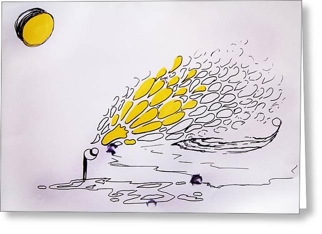 Surreal Landscape Drawings Greeting Cards - I Dream of Lemons Greeting Card by Nina Efk