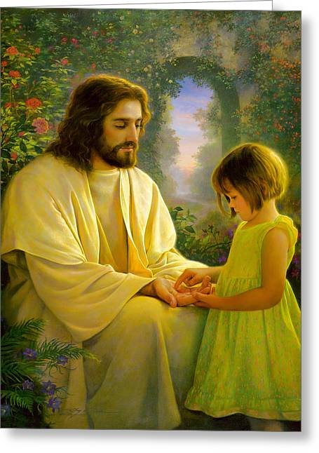Hair Greeting Cards - I Feel My Saviors Love Greeting Card by Greg Olsen
