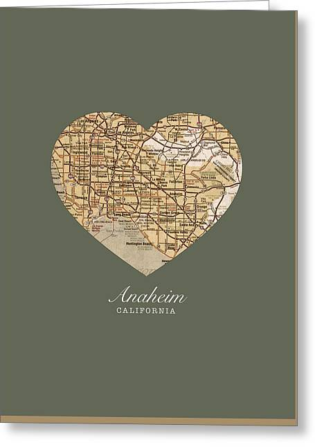 Anaheim California Greeting Cards - I Heart Anaheim California Vintage City Street Map Americana Series No 021 Greeting Card by Design Turnpike