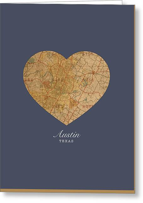 I Mixed Media Greeting Cards - I Heart Austin Texas Vintage City Street Map Americana Series No 028 Greeting Card by Design Turnpike