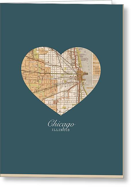 I Greeting Cards - I Heart Chicago Illinois Vintage City Street Map Americana Series No 002 Greeting Card by Design Turnpike