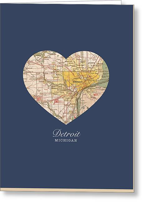 I Greeting Cards - I Heart Detroit Michigan Vintage City Street Map Americana Series No 001 Greeting Card by Design Turnpike