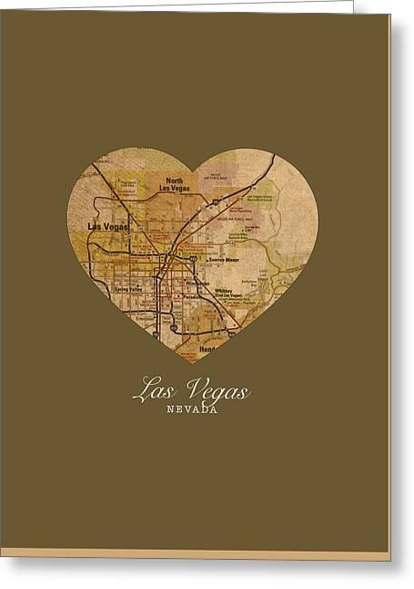 Las Vegas Mixed Media Greeting Cards - I Heart Las Vegas Nevada Vintage City Street Map Americana Series No 023 Greeting Card by Design Turnpike