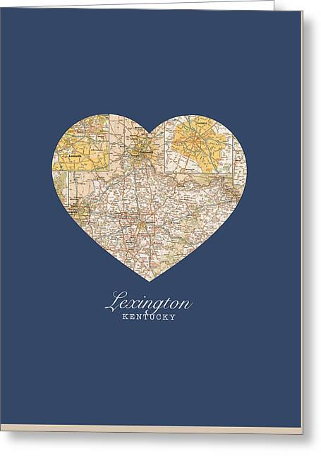 Lexington Greeting Cards - I Heart Lexington Kentucky Vintage City Street Map Americana Series No 006 Greeting Card by Design Turnpike